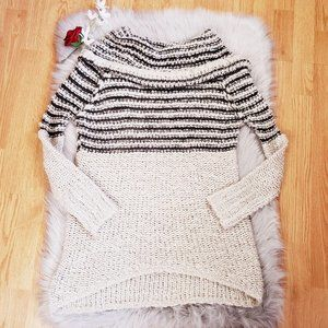Umgee Open Chunky Knit Sweater Cowl Neck Tan small